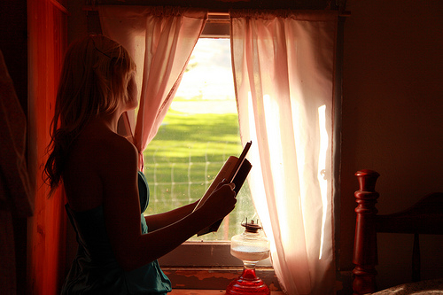 Girl Holding Book Looking Out Window photo by D Sharon Pruitt (flickr)