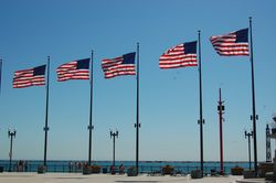 American Flags at Navy Pier in Chicago