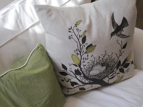 M bird pillow